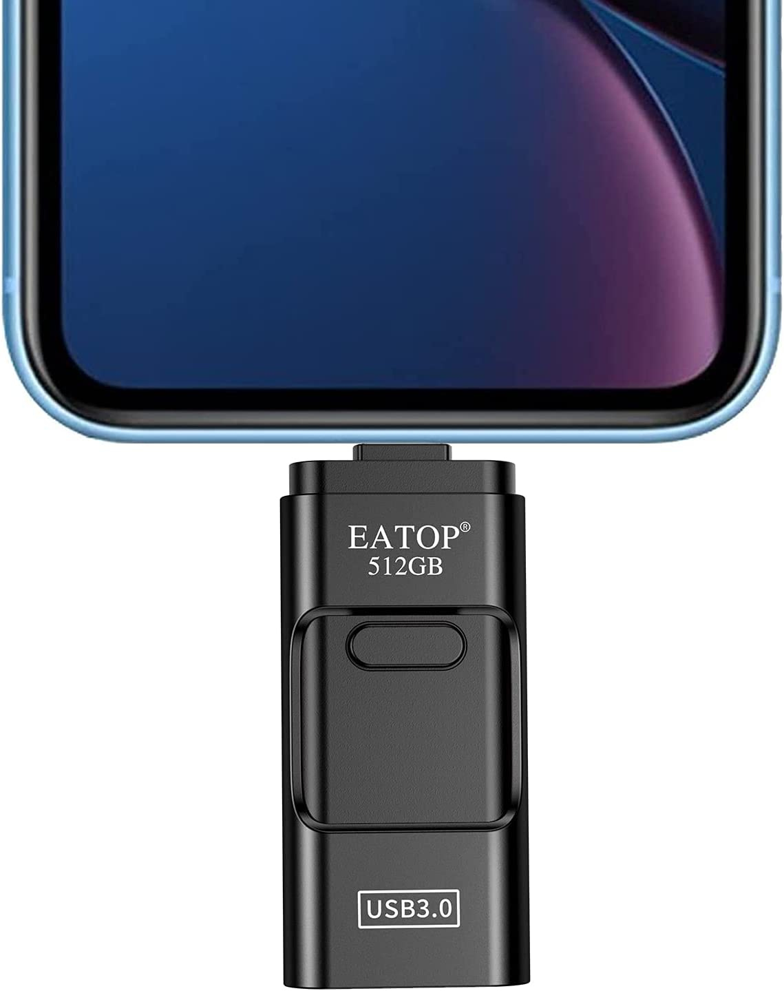 EATOP USB Flash Drive 512GB Storage for Photos, USB Memory Stick Thumb Drive Photo Storage Device Compatible with iPhone, Android and Computers (Black)