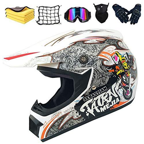 Casco de moto infantil para motocross con guantes, gafas, máscara, red elástica, regalo para niños (S, D)