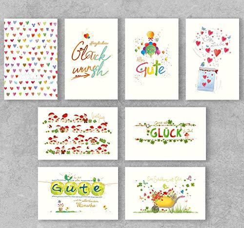 PremiumLine Glückwunschkarten Set 16 Stück inkl. Briefumschlag Grußkarte diverse Anlässe allgemeine Glückwünsche alles Gute viel Glück 11,5 x 17,5 cm umweltfreundliche Klappkarte aus Naturkarton