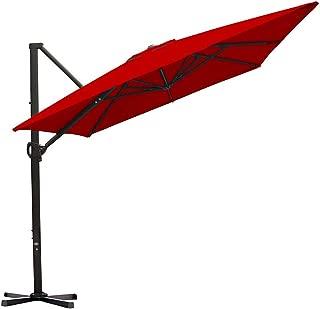 Abba Patio Rectangular Offset Cantilever Umbrella Outdoor Patio Hanging Umbrella with Cross Base, 8 x 10- Feet, Dark Red