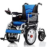 JOSN Heavy-duty electric wheelchair, foldable and light-powered wheelchair seat width 45Cm 360° joystick 250W * 2 weight capacity 150KG for the elderly (blue)