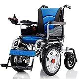 XJZHAN Sillas de Ruedas eléctricas de Servicio Pesado Sillas de Ruedas eléctricas Plegables y livianas Capacidad de Carga máxima 150 kg para Ancianos,Azul