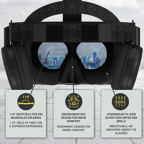 Hi-SHOCK Premium VR-Brille - X6 - Gaming Brille für 3D Spaß - mit integrierten Kopfhörern für 4,7 - 6,1 Smartphones - Komp. zu Nexus, Samsung, LG, Moto, HTC, Huawei, Sony - Schwarz