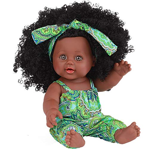 Wenini 12 Inch Baby Movable Joint African Doll Toy Black Girl Dolls Toy for Kids (Green)