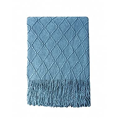 Bourina Throw Blanket Textured Solid Soft for Sofa Couch Cover Decorative Knitted Blanket, 50  x 60 , Blue