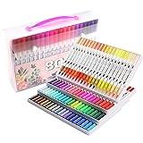 Rotulador de colorear, rotulador pincel, 80 colores con bolígrafos, punta fina de 0,4 mm para dibujar doble punta rotulador de arte acuarela para pintura, bocetos diario, banda de dibujo.
