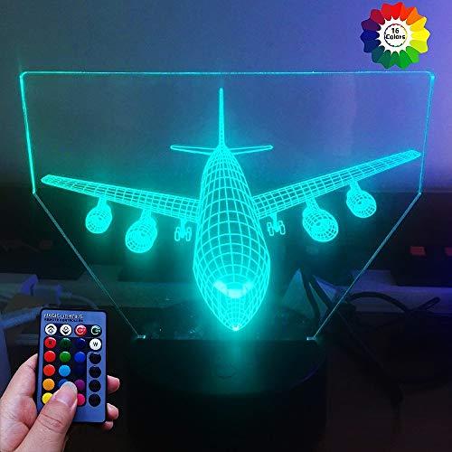 HPBN8 Ltd 3D Flugzeug Illusions LED Lampen 7/16 Farbwechsel Fernbedienung Berühren Tabelle Schreibtisch-Nacht licht mit USB-Kabel für Kinder Schlafzimmer Geburtstagsgeschenke Geschenk