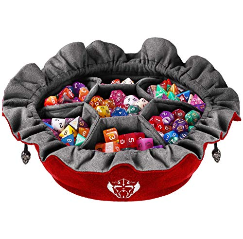 CardKingPro Immense Dice Bags with Pockets - Red - Capacity 150+ Dice - Great for Dice Hoarders [Patented Design]