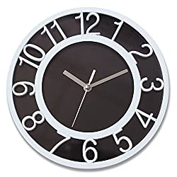 8 Silent Quartz Wall Clock Non-Ticking Digital White Wall Clocks with 3D Numbers and Plastic Bezel Easy to Read Vintage Wall Clock