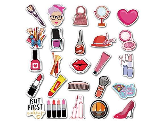 votgl 50 stuks Girls Daily Cosmetics parfumstift, lippenstift, schoenen, decoratief, voor koffer, bagage, laptop, skateboard, stickers voor auto