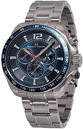 Philippe Vandier Reloj Hombre Swiss Made Speed Lane Chrono Blue Movimiento Cuarzo Suizo con Cronógrafo Correa de Acero 316L y Cristal de Zafiro