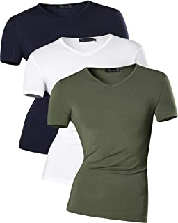 jeansian Hombres Classic Short Sleeve Softstyle V-Neck Cotton T-Shirt tee Top AMA003
