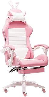 FANLIU Asiento de la silla del corazón for jugar un juego oficina en casa chica silla de la competencia de carreras de color rosa maestro silla de la computadora en vivo de color rosa (sin reposapiés)