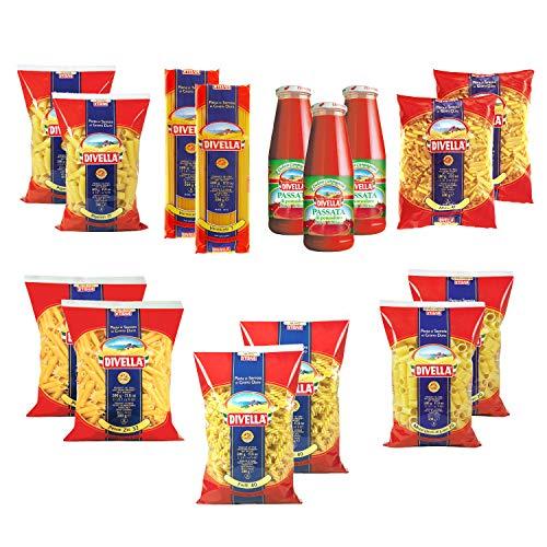 DIVELLA Daily Life Box Kit 12 Confezioni di Pasta da 500gr + 3 Passata di Pomodoro in bottiglia da 680 gr