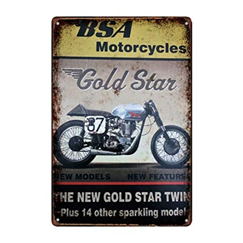 GEDSING Metal Tin Sign BSA Gold Star Bar Pub Home Vintage Retro Poster Cafe Art