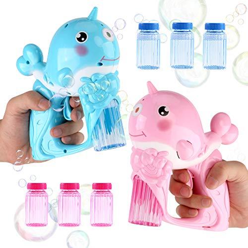 JoyGrow Bubble Gun Shooter für Kinder, 2 Bubble Blaster mit 6 Bubble Solution LED Licht und Musik Kleinkind Party begünstigt Sommer Spielzeug Outdoor-Aktivität Spaß Party Gefälligkeiten