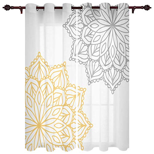 Grommet Window Curtain Dahlia Flower Floral Abstract Large Petals Image Print Window Curtains Draperies for Bedroom and Living Room 52 x 84 Inch, Set of 2 Panels