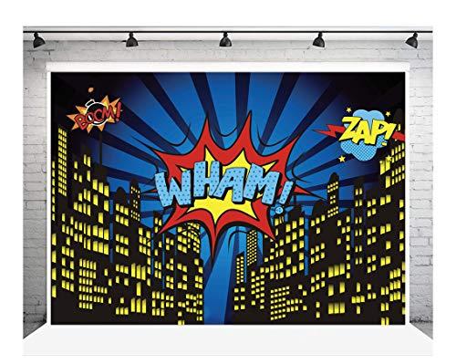 AIIKES 7 × 5 FT Cityscape luz de Fondo Brillante Estrellas Noche Ciudad cumpleaños Fotos Fondos niños cómics Dibujos Animados construcción superhéroe Ciudad Fondo fotografía Fiesta Foto Fondo 11-051