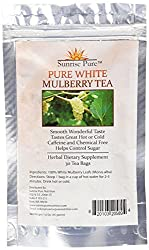 Mulberry Tea - White | Blood Sugar Controller Tea | Great Hot or Cold | White Mulberry Tea (Morus Alba) | Caffeine Free | Great Reviews | Weight Loss Tea | Sunrise Pure Nutrition Guarantee