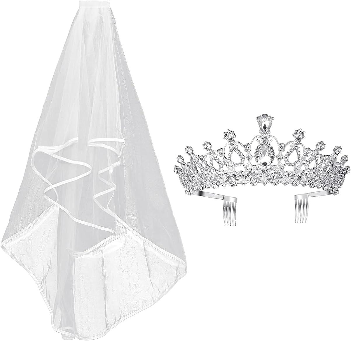 FRCOLOR Royal Wedding Crown Veil with Comb Crystal Crown Princess Tiara Headpiece Bridal Wedding Veil Heardress