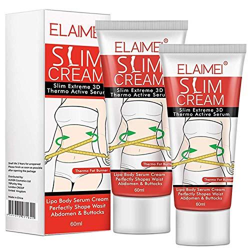 Hot Cream, Slimming Cream Fat Burner Weight Loss Sweat Cream Cellulite Removal Cream, Anti Cellulite Natural Slim Firming Body Cream for Shaping Waist, Abdomen and Buttocks (2 Pack)