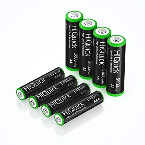 HiQuick 単三充電池 単四充電池 セット 単三充電池 2800mAh 4本+単四充電池 1100mAh 4本 充電式ニッケル水素電池 ケース2個付き 電池 単3 電池 単4 電池 セット 大容量 約1200回使用可能 自然放電抑制 環境保護 電池収納