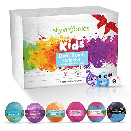 Kids Organic Bath Bombs Gift Set with Surprise Toys