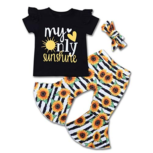 3PCS Baby Girl Summer Clothes Ruffle Short Sleeves T-Shirt Sunflower Flares Pants Headband Vintage Toddler Girl Casual Outfits