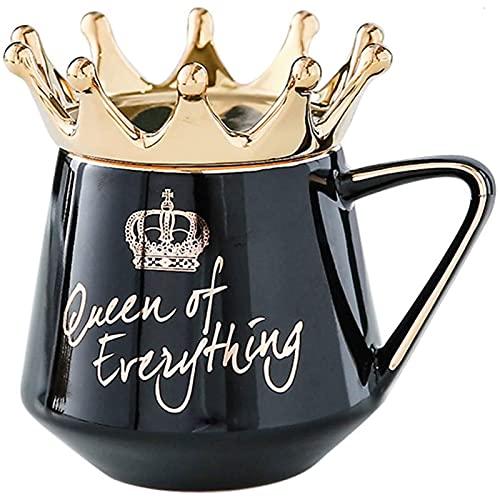 Taza de Cerámica de 400 Ml con Tapa de Corona - Taza de Novedad de La Reina de Todo con Tapa de Corona Taza de Café de Cerámica para Regalo para Pareja o Amigos,Black-OneSize