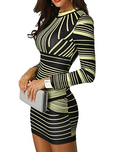 CHICME BEST SHOPPING DEALS Damen Gradient Farben Streifen Bodycon Mini Kleid Gelb S