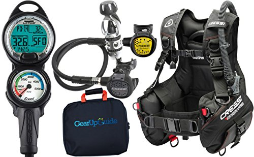 Cressi Start Pro 2.0 Scuba Diving Gear Package Assembled GUpG Reg Bag, Leonardo C2 MD