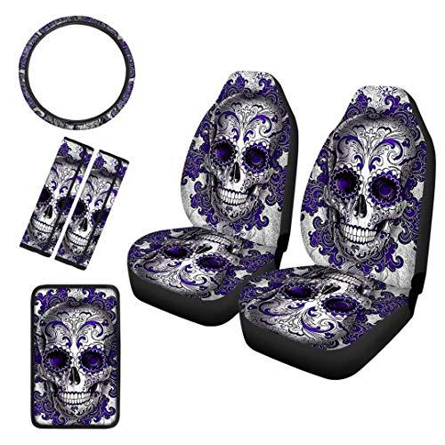 Advocator Bohemian Mandala Skull Car Seat Covers with Steering Wheel Cover/Seat Belt Shoulder Pads/Armrest Cover Pads 6 Pack Full Set for Women