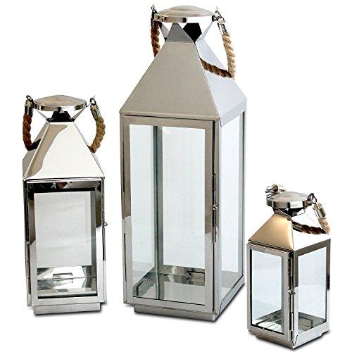 Multistore 2002 Edles 3tlg. Laternen-Set H55,5/40/25cm, Edelstahl mit Griff aus geflochtenem Seil und Glasfenstern, Laterne Windlicht
