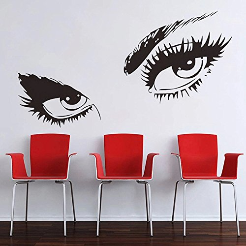 Pegatina silueta ojos color negro 50 x 95 cm pared vinilo decorativo dormitorio salon de belleza peluquerias, centros de estetica de CHIPYHOME
