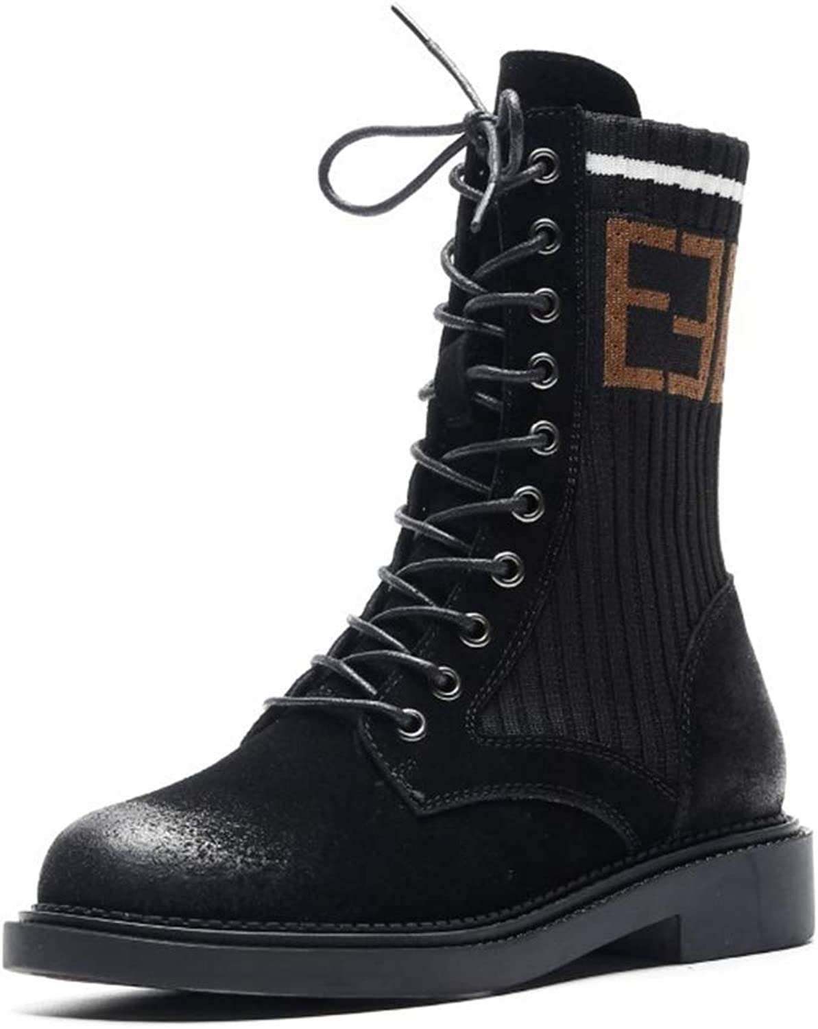 Women's Boots Leather Fashion Martin Boots British Autumn Winter Plus Velvet Thick Heel Boots Lace Up Stretch Boots Black Brown (color   Black, Size   36)