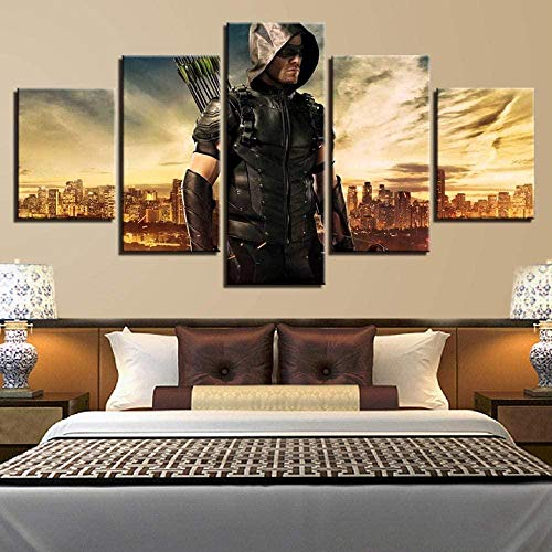 NC56 5 Stück HD-Druck Malerei Leinwand Wandkunst Bild Home Decoration Wohnzimmer Leinwand Malerei Film Green Arrow Man Poster