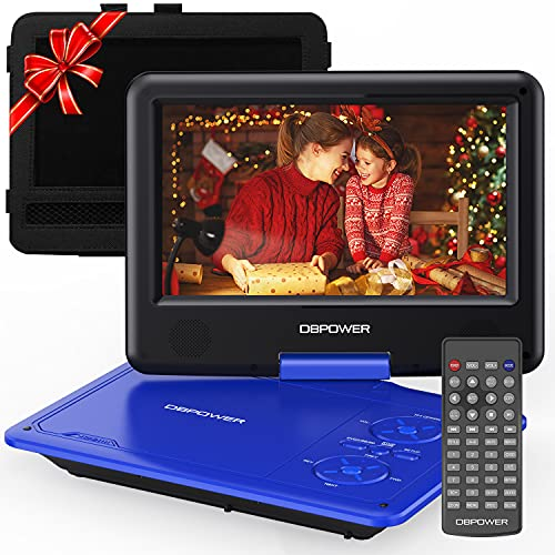 DBPOWER 11.5' Portable DVD Player, 5-Hour Built-in Rechargeable Battery, with 9' Swivel Screen, Support CD/DVD/SD Card/USB, with Remote control, 1.8M Car Charger and Power Adaptor (Blue)