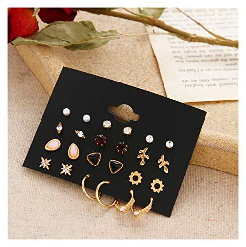 SSN 12 Pairs Flower Women'S Earrings Set Pearl Crystal Stud Earrings Geometric Tassel Earrings for Women Jewelry Gift