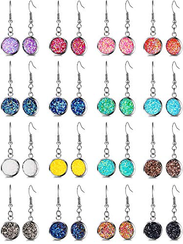 16 Pairs Faux Druzy Dangle Earrings Colorful Druzy Drop Earrings Resin Crystal Earrings for Women Girls