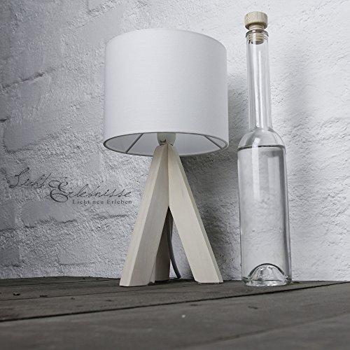 Moderna lámpara de sobremesa pie de madera 31cm Ø17cm tulipa de tela lámpara blanca salón dormitorio mesita de noche