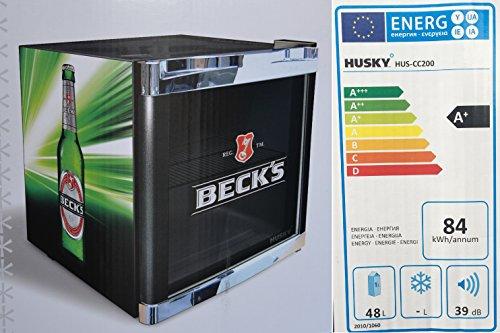 Husky HUS-CC 200 Coolcube Cool Cube Flaschenkühlschrank Becks/A+ / 51 cm Höhe / 84 kWh/Jahr / 50 L Kühlteil inkl. Reinigungstuch
