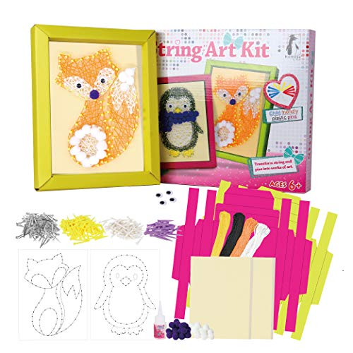 Fox and Penguin String Art Kit for Kids, Double Kit Penguin and Fox String Art Craft Projects for Girls and Boys Craft Activity, Makes 2 Large Framed String Art Canvases, String Art Kits for Kids 9-12