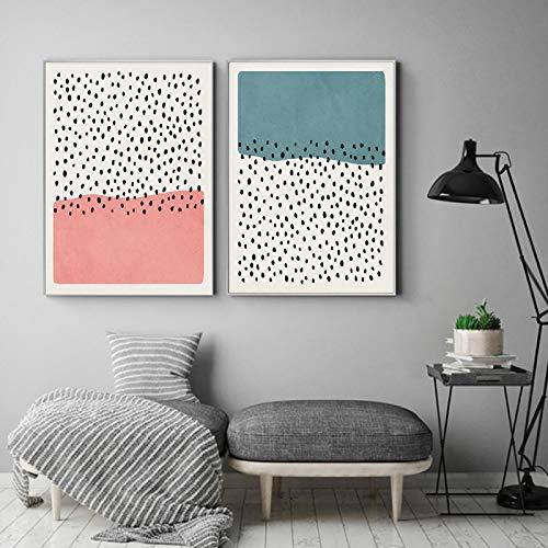 Cartel nórdico abstracto Fondo azul rosa Pintura de la lona Arte de la pared Imagen de mota para la decoración de la sala de estar en la pared 70x100cm-2pcs Sin marco