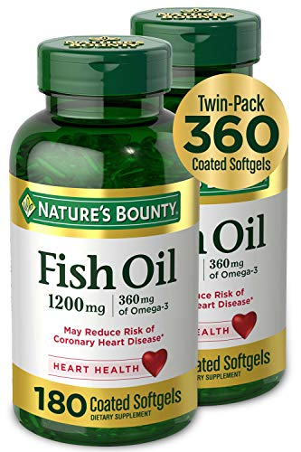 Fish Oil by Nature's Bounty, Dietary Supplement, Omega-3, Supports Heart Health, 1200 mg Twin Packs,...
