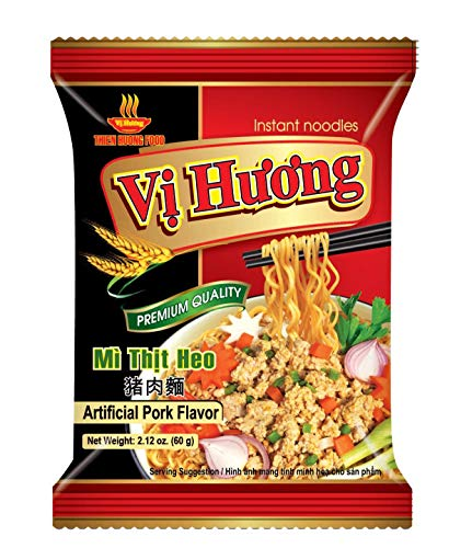 VI HUONG Instant Noodles – Authentic Vietnamese Instant Ramen Soup – Shrimp, Chicken or Pork Flavorful Instant Noodles – 3-min Fast Ramen – Natural Ingredients – Pack of 10 (Pork)