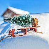 KATELUO 9Stück Mini Grün Tannenbaum,Künstlicher Weihnachtsbaum Miniatur,Mini Weihnachtsbaum Künstlicher,Weihnachtsbaum Schnee Klein mit Holzsockel,für Weihnachtsdeko/Tischdeko/DIY/Schaufenster,3Größen - 6