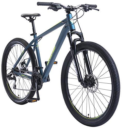 BIKESTAR Hardtail Aluminium Mountainbike Shimano 21 Gang Schaltung, Scheibenbremse 27.5 Zoll Reifen | 18 Zoll Rahmen Alu MTB | Blau Gelb