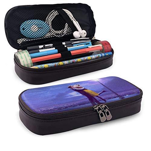 La La Land Leather Pen Case Holder Cosmetic Double Zipper Bag for Adults Girls Boys School Office