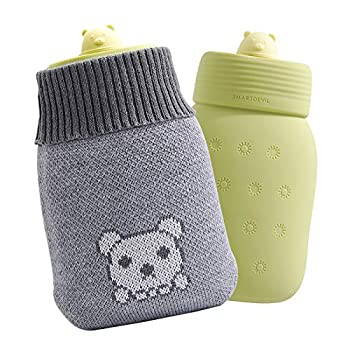 Smartdevil Hot Water Bottle Microwaveable Odorless Premium Silicone Material 350ml Mini Hot Water Bag with Soft Knitted Insulation Cover for Hands Back Neck Waist Legs Bed Warmer  Green