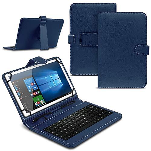Tablet Hülle kompatibel für Amazon Fire HD 10 / Plus 2021 Tasche Tastatur Keyboard QWERTZ Schutzhülle Cover Standfunktion USB Schutz Hülle, Farben:Blau